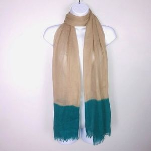 2 Chic Scarf Big Over Size Tan Teal Soft Wrap MB36